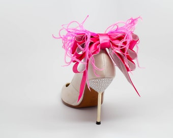 Bridal Formal Sexy Shoe Clips Hot Pink And Silver  Satin Ribbon Bow And Feather More Colors Available