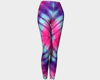 Tie Dye Leggings-Women's Leggings-Capri Leggings-Yoga Pants-Colorful Purple Pink Blue Leggings-xs, s, m, l, xl