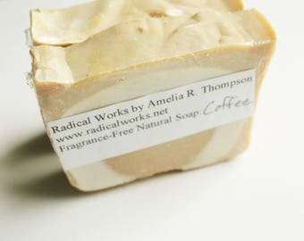 Coffee Soap - Fragrance Free Unscented Soap - Natural Handmade Cold Process Lard Olive Oil - Easter Gift