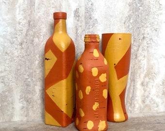 Painted Bottles, southwest, altered bottles, Decorative Bottles, Painted Bottles, home decor, marigold, upcycled bottle, centerpiece
