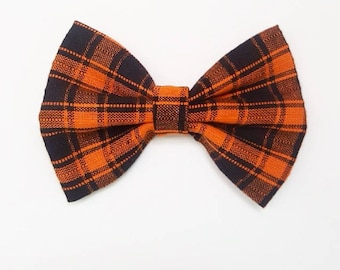 Classic Bow - Blake Bow - Orange and Black Plaid - Baby girl - Nylon headbands - Fabric hair bows/clips - infant/toddler