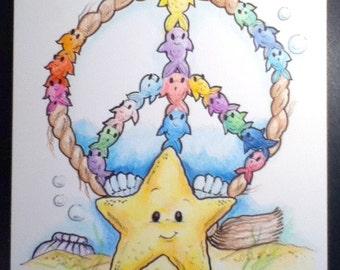 Childrens Art Print Peace Fish 8.5 x 11