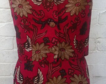Red batik costume from 1960s size 8 to size 10, long dress
