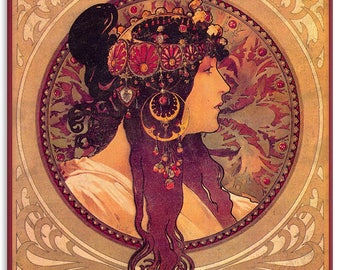 "Mucha , Donna-Orechini, Metal Sign, Wall Decor, Nouveau Art, 12""x15"""