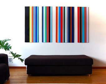 LARGE MULTICOLORED STRIPES acrylic painting