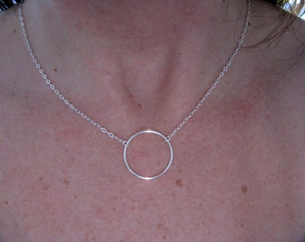 Necklace circle ring - 925 sterling silver or 14 k gold plated