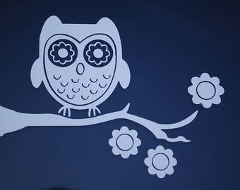 Owl Sticker Vinyl Decal CHOOSE COLOR!! Tree Branch Family Car Window Wall Art Cute Hoot (V525)
