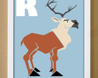 alphabet letter R, reindeer, winter art, custom colors, alphabet print, nursery decor, winter theme art, 4x6, 5x7, 8x10