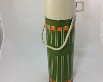 1970's King Seeley Thermos Avocado and Orange Quart Size Tall