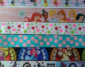 """Mixture Of Princess Grosgrain and Satin Ribbon 15 Yards 7/8"""" To 1.5"""" Wide"""