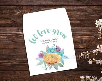 Let Love Grow, Flower Seeds, Boho Wedding, Seed Packet, Seed Packet Favor, Wedding Favor, Seed Packet, Wedding Seed Packet, Seed Favor x 25