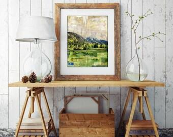 "Colorado Print, Colorado Art, Mixed Media, Mountain Print, Silverton CO, San Juan Mountain Art, 8""x10"" or 11""x14"" Print, ""Silverton & Rail"""