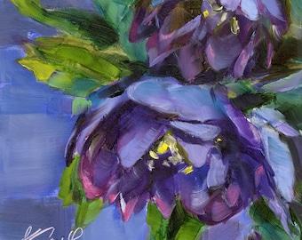 flower print //  happy // art print // giclee print // home decor // wall art // art print // flower art // purple flower // painting art