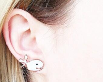 White Stud Earrings, Cute White Whale, Beach jewelry, Whale Fish, Nautical studs, Seaside fish, ocean animals, Hawaii jewelry