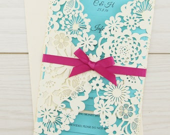 SAMPLE * Molly Laser Cut with Satin Bow Wedding Invitation, Turquoise, Azalea