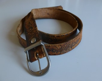 Vintage Leather belt . Brown genuine leather belt.
