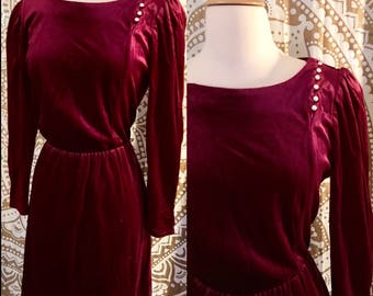 VTG 70s Burgundy Velvet Long Sleeve Pearl Disco Midi Party Dress Retro M/L