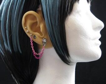 """Industrial Hex Nut Earrings for Double Piercings – """"Pink Splash - Double Piercing"""""""