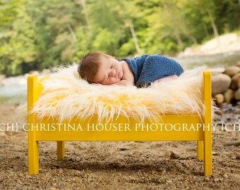 Frosted Yellow Mongolian Faux Fur Rug Nest Photography Photo Prop Newborn Baby Toddler Mat