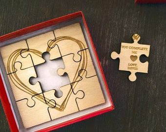 Valentines - Engraved Wooden Puzzle - Personalized Wooden Heart Puzzle - You Complete Me - Gift for Bride - Groom Gift Husband