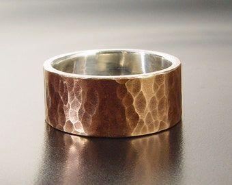 Hammered Bronze Ring Lined with Sterling Silver - Rustic Wedding Ring - Unique Mens Wedding Ring