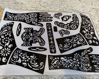 Reusable hand and arm Mehndi Henna Rubber Self Stick Stencil Template child/ small