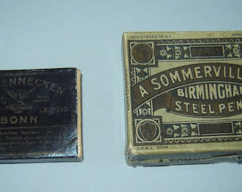 2 Antique old empty box for calligraphy dip ink nibs pen