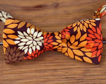 Mens Bow Tie -Fall Floral on Woven Cotton, handsome bowtie for Teen and Men
