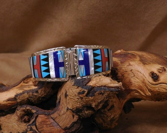 Southwestern Sterling Silver Inlay Watchband