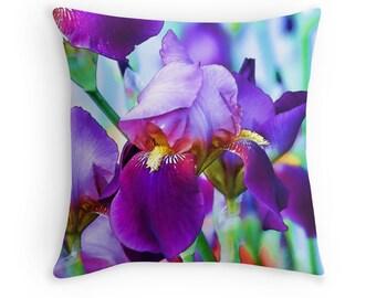 Iris Gifts, Iris Cushion, Garden Decor, Gardeners Gift, Iris Throw Pillow, Irises, Purple Cushion, Purple Pillow, Floral Cushion