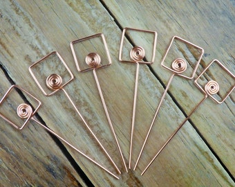 Copper headpins, 3 pairs, spiral in square, 20ga wire, you choose length, more available; hand crafted jewelry supplies, fancy findings.