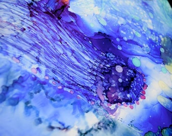 Jelly fish - alcohol ink sea scape - abstract ocean and jellyfish scene