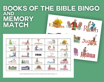 Books of the Bible Bingo 48 Printable Cards & Memory Match Game