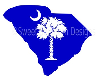 South Carolina with palmetto moon SVG instant download design for cricut or silhouette
