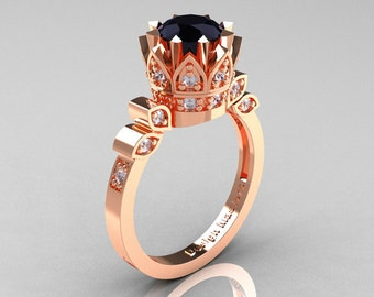 Classic Armenian 14K Rose Gold 1.0 Black and White Diamond Bridal Solitaire Ring R405-14KRGDBD