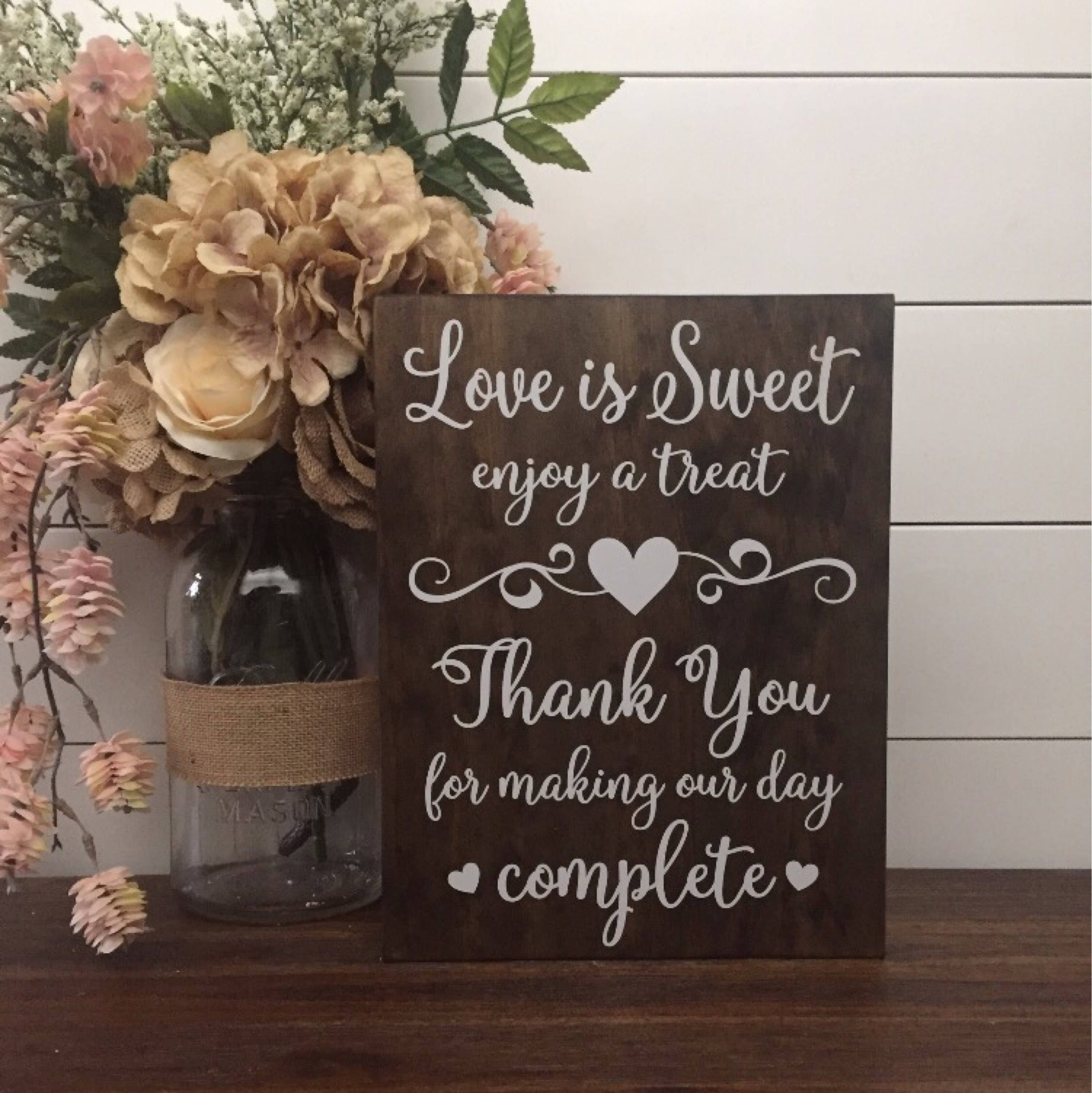 Love Is Sweet Enjoy A Treat Sign Wedding Table Sign