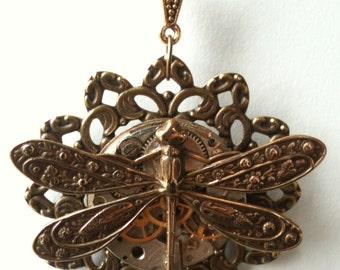 Steampunk Dragonfly Necklace - Unique Steampunk Pendant - Dragonfly Clock Pendant -  Unique Steampunk Jewelry - Original Limited Edition