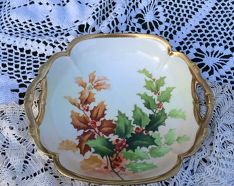 Antique Limoges Christmas Holly Berry Bowl - Signed