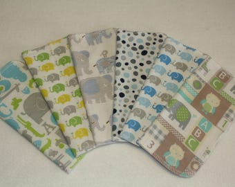 36 Cloth Baby Wipes - Gray Elephants - Gender Neutral - 3 Dozen Flannel Wipes - Select Own Designs