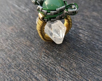 Green Aventurine Wire Wrap Ring Size 4.75