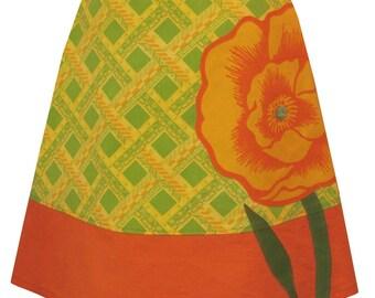 california poppy skirt - trellis print skirt with giant poppy applique