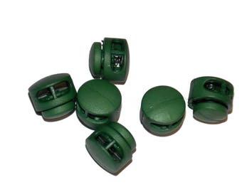 Dark Green Cord Locks for Paracord - 3mm x 6.5mm Diameter Hole Double Hole Round - Paracord Add On