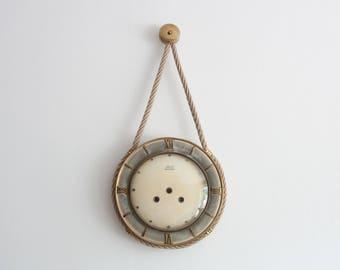 Vintage Wall Clock, Office Decor Clock, Kitchen Clock, Mechanical Wind up Clock with Key, Nautical Marine Ropes Ocean Sea Summer Sail