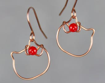Copper Hello Kitty earrings  Bridesmaid gifts Free US Shipping handmade Anni designs