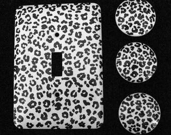Leopard Print Black and White Hand Painted - SET of THREE - 1.5 inch knobs and ONE Single Metal Switch Plate