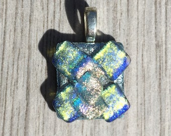 Dichroic Fused Glass Earrings - Triple Layered Mosaic Pendant
