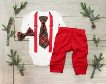 Baby Boy 1st Christmas Outfit. Baby Boy Tie and Suspenders. Infant Bowtie. Newborn christmas outfit. Coordinating sibling christmas outfits.