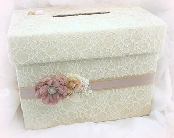 Wedding Money Holder Box Rose Blush Champagne Lace Bridal Invitation Box Vintage Style Elegant