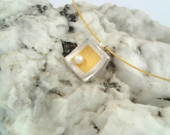 A square gold and silver necklace with a pearl, Hammered necklace, Gift for her, Modern necklace,  Square pendant, Textured necklace.