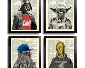 Star Wars Art Print Set Yoda Office Wall Art Set of Prints Dictionary Art Print Set of 4 Prints Cool Man Gift for Boyfriend Movie Poster 540